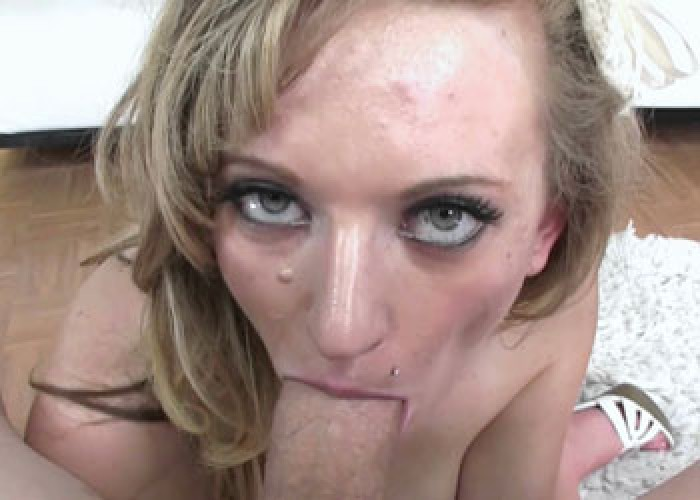 Madison Mercer swallows a huge cock